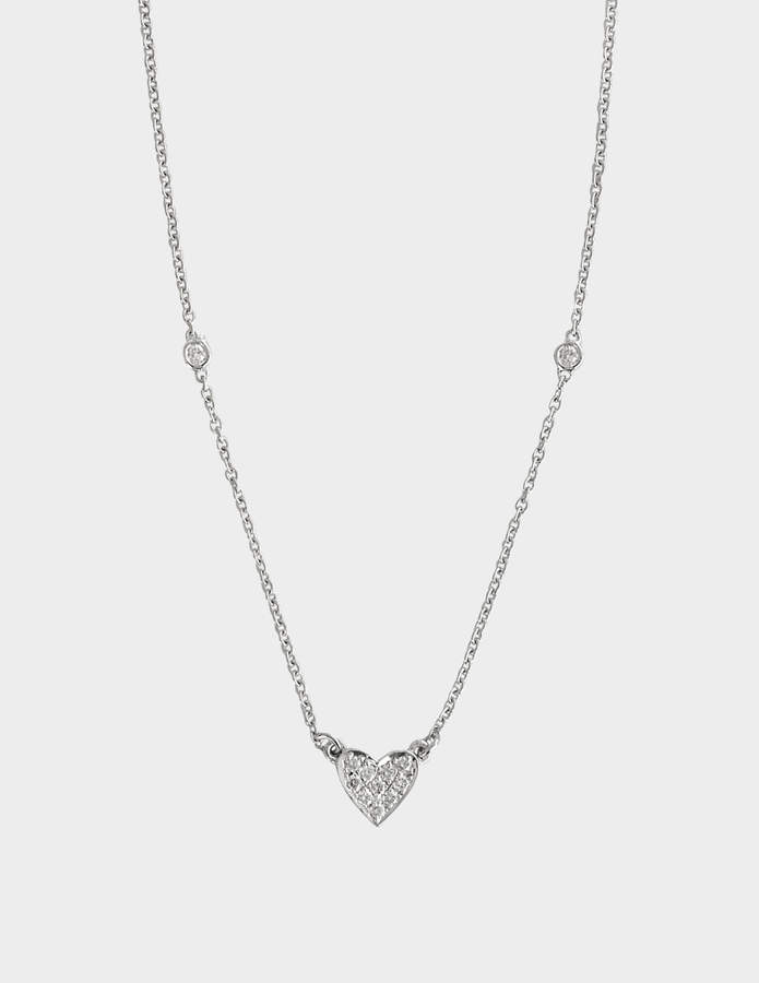 Vanessa Tugendhaft White Gold and Diamond Heart Charm Necklace