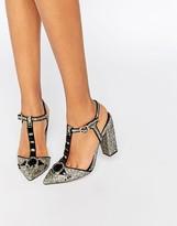 Little Mistress Grace Glitter T-Bar Heeled Shoes