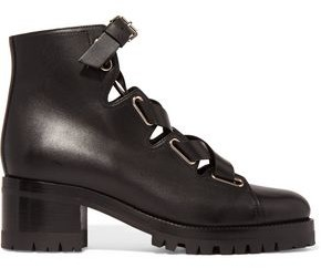 Valentino Plum Lace-up Leather Boots