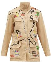 BEIGE Kilometre Paris - Our American Tour Patched Cotton Jacket - Womens Print