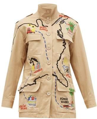 BEIGE Kilometre Paris - Our American Tour Patched Cotton Jacket - Womens Print