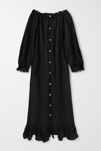 Sleeper Caviar Ruffled Linen Midi Dress - Black