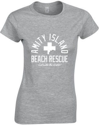 Crown Designs Amity Island Beach Rescue Horror Film Inspired Gift for Women & Teenagers Fitted T-Shirts Tops - Grey/M - 8/10