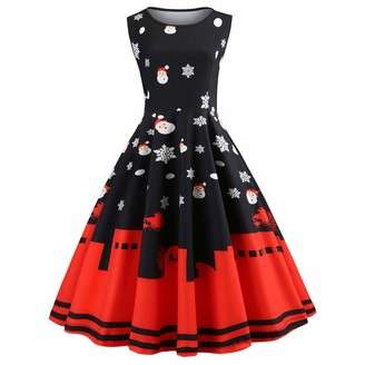 WAOTIER Sleeveless Gown Womens Vintage Santa Claus Christmas Printed Pleated Dresses Ladies Sleeveless High Waist Slim Fit Round Neck Swing Cocktail Evening Dress Fancy Dress Black