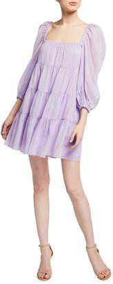 Alice + Olivia Rowen Tiered Square-Neck Tunic Dress