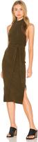 Lavish Alice Rib Knit Open Back Wrap Tie Midi Dress