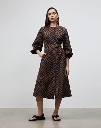 Lafayette 148 New York Louisa Dress In Zevron Print Coastal Cloth