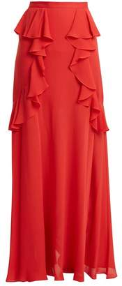 Elie Saab Ruffle Silk-blend Skirt - Womens - Coral