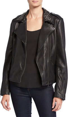Neiman Marcus Leather Collection Embellished Collar Leather Moto Jacket