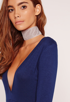 Missguided Wide Velvet Choker Necklace Grey