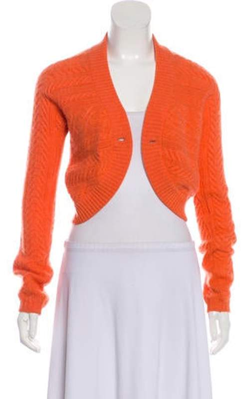 1873316a62c Cable Knit Crop Cardigan Orange Cable Knit Crop Cardigan