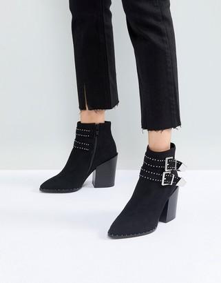 Raid RAID Black Studded Buckle Heeled Ankle Boots