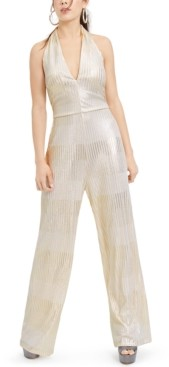 Bebe Juniors' Metallic Ribbed Jumpsuit