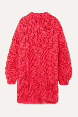 I Love Mr Mittens Diamond Oversized Cable-knit Wool Sweater - Pink