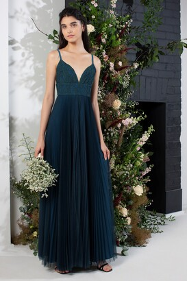 French Connection Farva Lace Mix Maxi Bridesmaid Dress