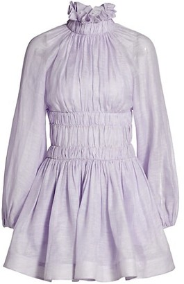 Zimmermann Wild Botanica Luminous Puff-Sleeve Ruffleneck Mini Dress