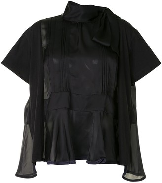 Sacai Pleat-Detailing Short-Sleeve Blouse