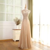 BEPEITHY Chiffon Long Sheer Prom Dress Evening Dresses