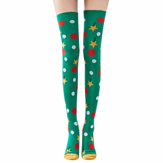 Chic Diary Women Striped Over Knee Thigh High Socks Cute Star Polka Dot Pattern Halloween Christmas Cosplay Leg warmer (Polka Dot)