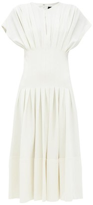 Proenza Schouler Pintucked-waist Pleated Floral-print Crepe Dress - Ivory