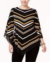 Alfani Plus Size Chevron-Stripe Chiffon-Trim Tunic, Created for Macy's