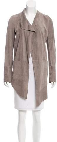 Superfine Suede Collarless Jacket