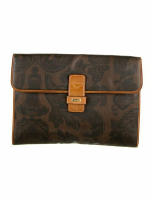 Gianfranco Ferre Vintage Leather-Trimmed Clutch Brown