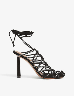 Fenty by Rihanna Caged In crystal-embellished lace-up leather sandals