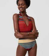 LOFT Beach Striped Halter One Piece Swimsuit