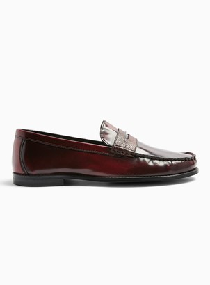 Topman Burgundy Real Leather Loafers