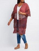 Charlotte Russe Plus Size Mixed Crochet Fringe Kimono
