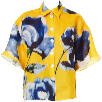 Carolina Herrera Drop-Shoulder Silk Floral Shirt