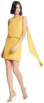 Halston Asymmetric Drape Dress (Marigold) Women's Clothing