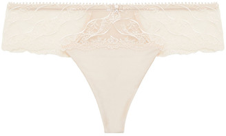 Wacoal Embroidered Stretch-tulle And Satin Mid-rise Thong