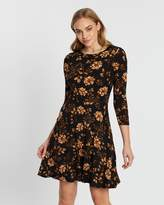 Dorothy Perkins Large Floral Fit-and-Flare Dress