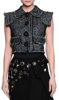 Dolce & Gabbana Peter Pan-Collar Button-Front Vest, Black/White