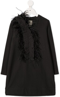 Douuod Kids Faux Feather Embroidered Longsleeved Dress