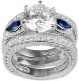 Journee Collection 10 1/5 CT. T.W. Round-cut CZ Pave Set Glass Stone Wedding Ring Set in Sterling Silver