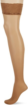 Pretty Polly Women's Day to Night 15D Sheer Lace Top Hold Ups 2PP Tights 15 DEN