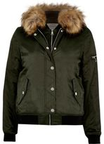 River Island Womens Khaki hooded bomber jacket