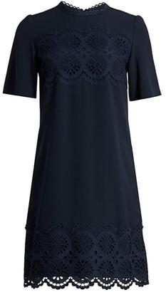 Lela Rose Embroidered-Eyelet Crepe Shift Dress
