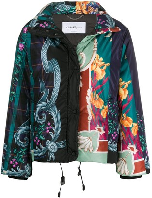 Salvatore Ferragamo floral baroque print puffer jacket