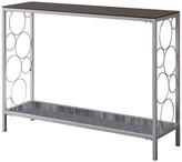 Pilaster Designs Rassy Silver & Black Modern Entryway 2 Tier Storage Console Sofa Side