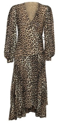 Ganni Long leopard print dress