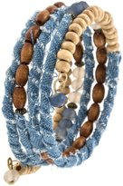 Karmas Canvas Wood Bead and Denim Wrap Bracelet