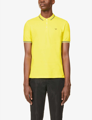 Emporio Armani Brand-print cotton-blend piqué polo shirt