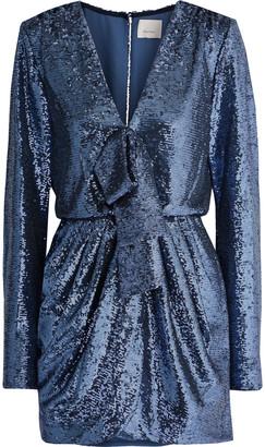 Cinq à Sept Skylar Wrap-effect Sequined Tulle Mini Dress
