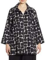Caroline Rose Rounded Rectangle Stretch-Cotton Jacket