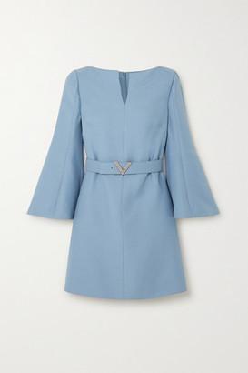 Valentino Crystal-embellished Belted Wool And Silk-blend Crepe Mini Dress - Blue