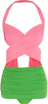 Norma Kamali XO Bill Mio cutout two-tone swimsuit